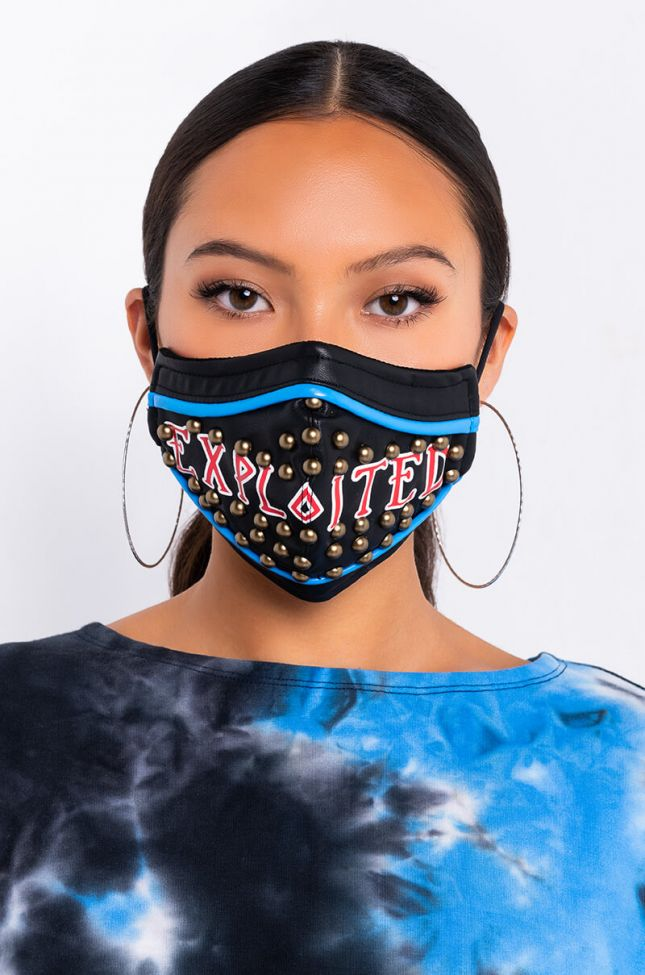 Front View Exploited Pu Fashion Face Mask in Black