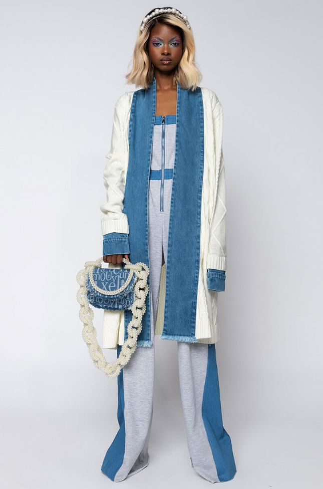 Front View Extra Denim Detail Cardigan in White Multi