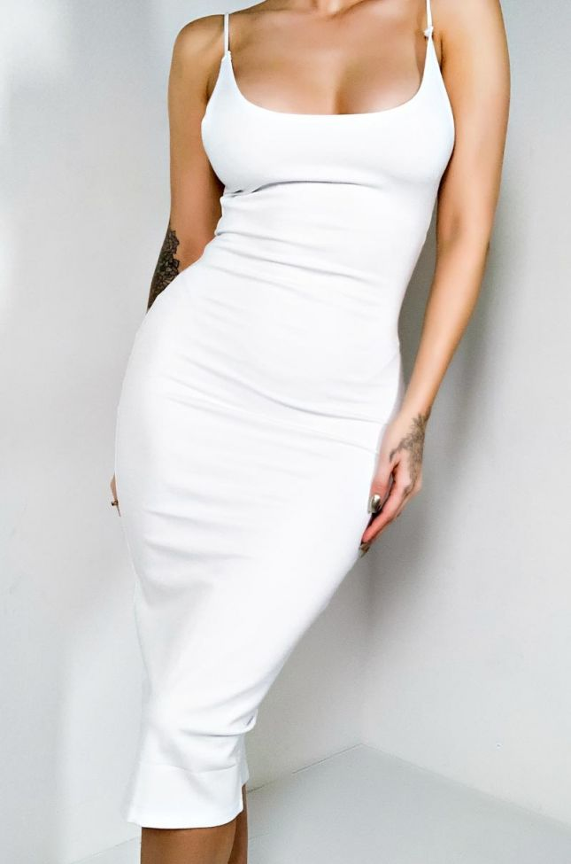 Front View Extra Fine Midi Dress in White