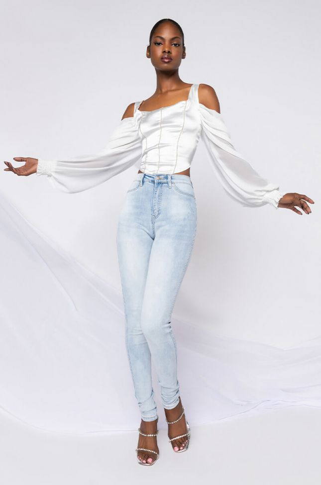 Full View Extreme Stretch High Waisted Skinny Jeans in Light Blue