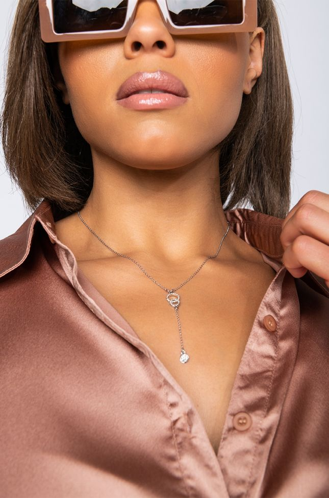 Front View Fall In Love Dainty Necklace in Silver