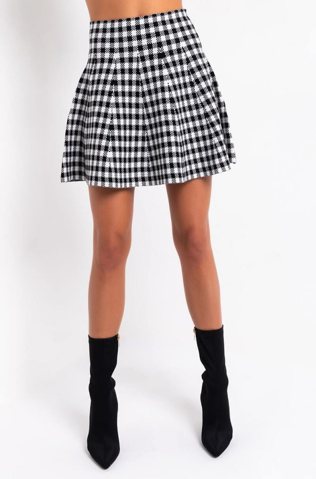 Front View Fall Vibes Only Plaid Knit Mini Skirt in Black Multi