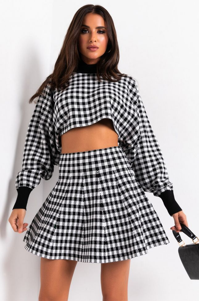 Front View Fall Vibes Only Plaid Knit Top in Black Multi