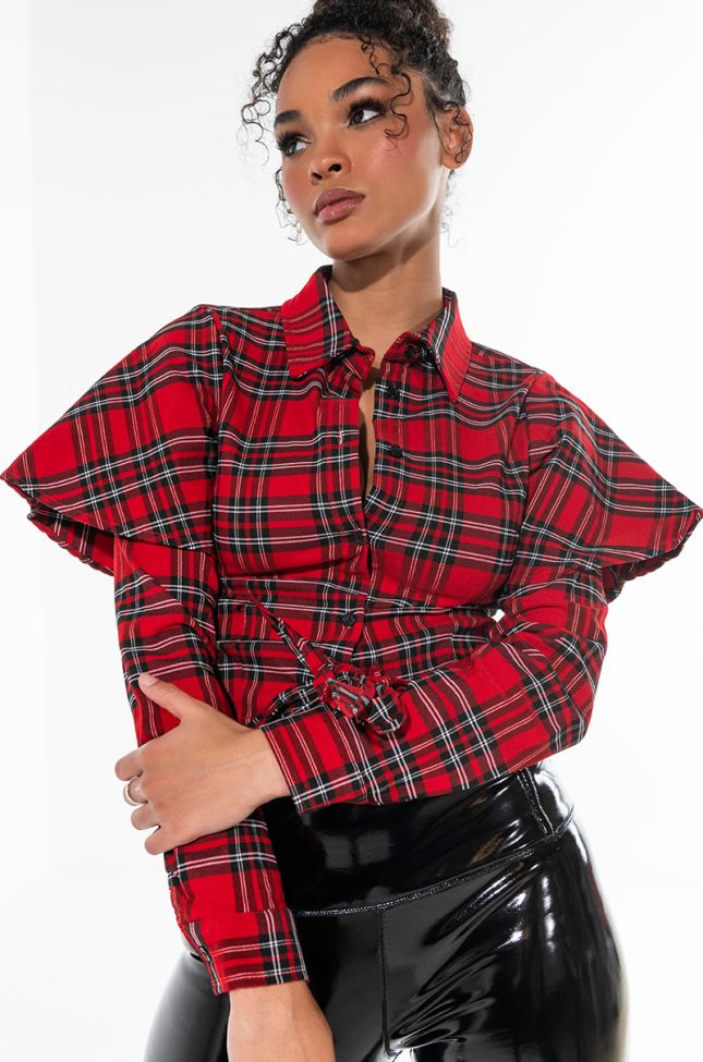 FALL VIBES TIE FRONT PLAID LONG SLEEVE BLOUSE