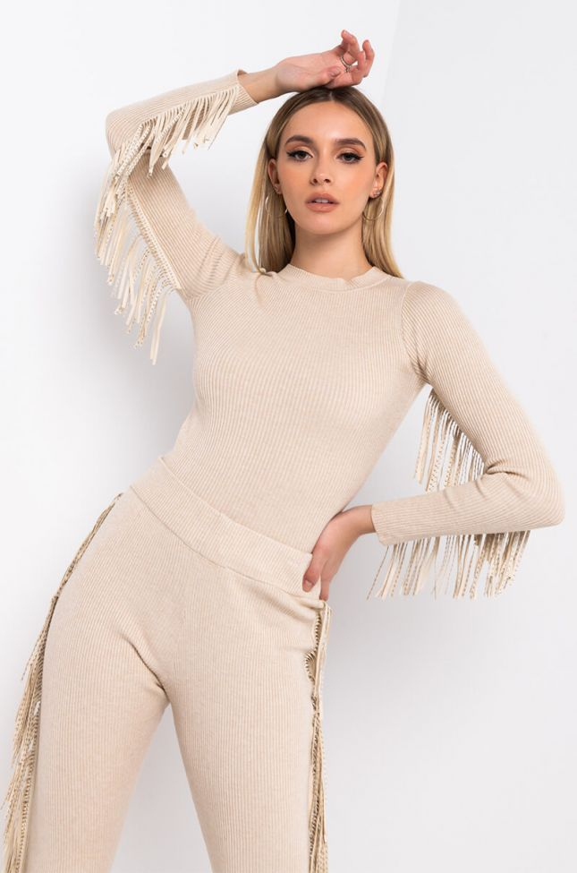 Front View Far Out Fringe Top in Beige