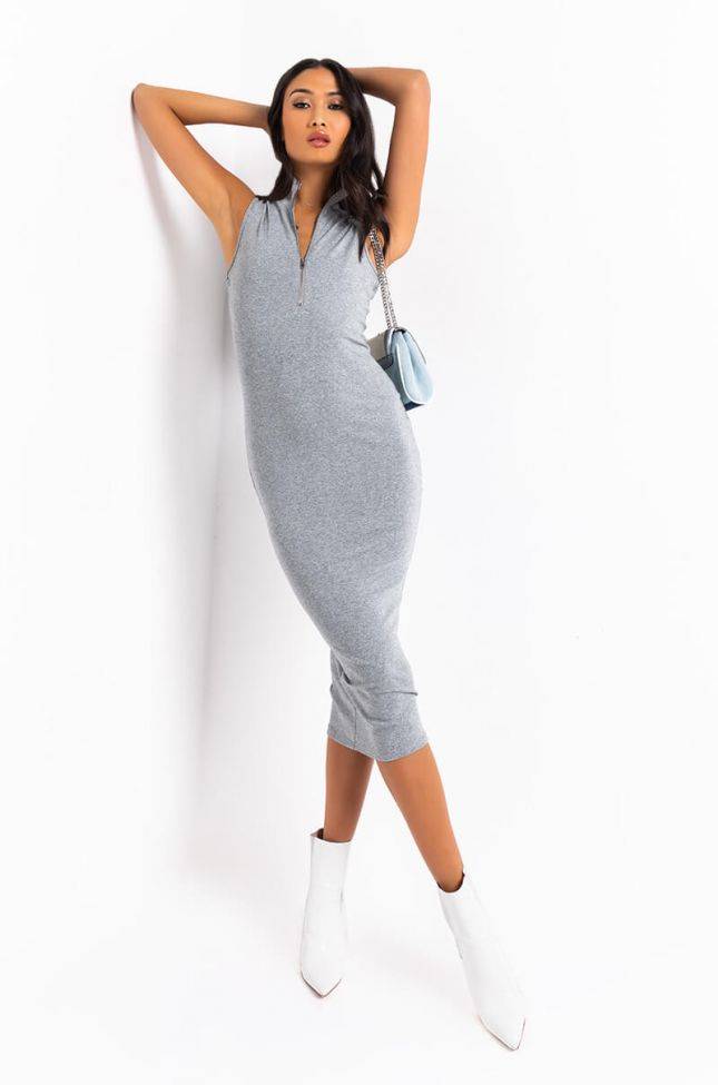 Front View Fashionably Late Sleeveless Midi Dress in Grey