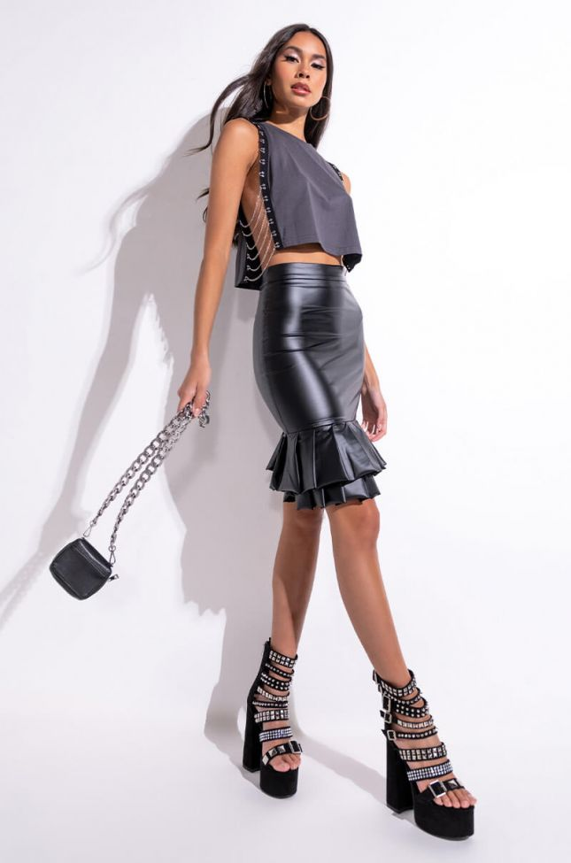 Extra View Faux Leather Ruffle Pencil Skirt