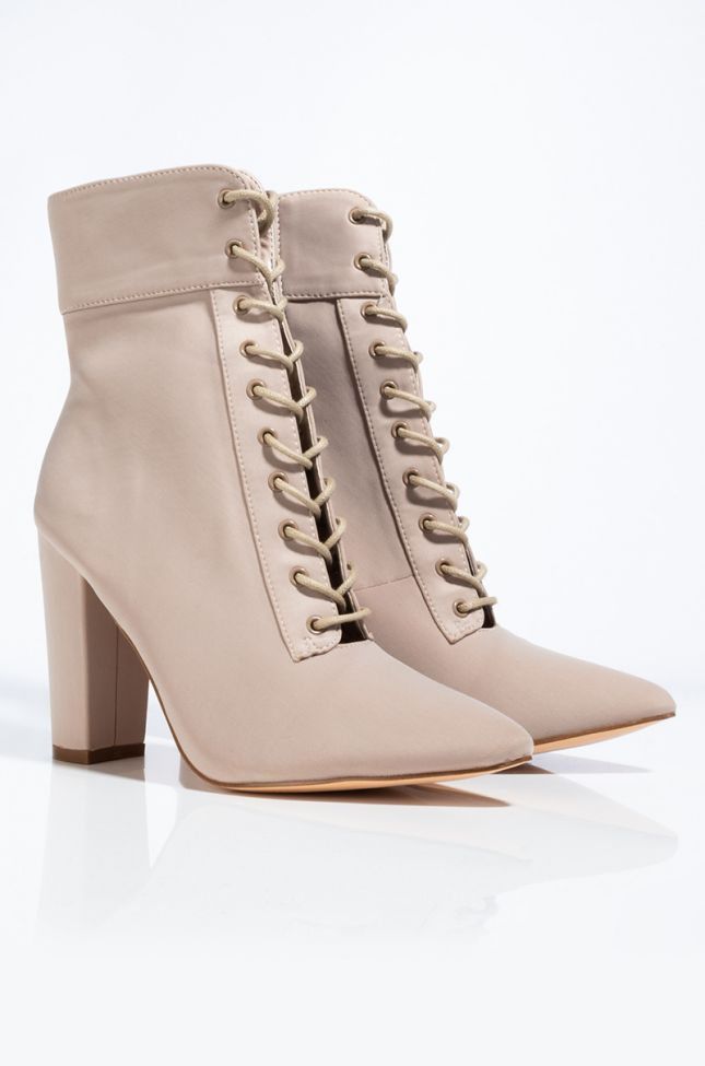 Detail View Feel The Attraction Pointed Toe Chunky Heel Bootie in Taupe