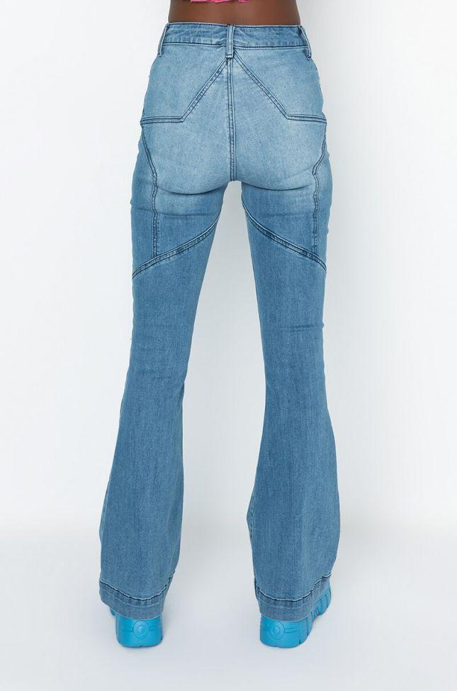 Back View Feeling Like A Star High Waisted Flare Jeans in Medium Blue Denim