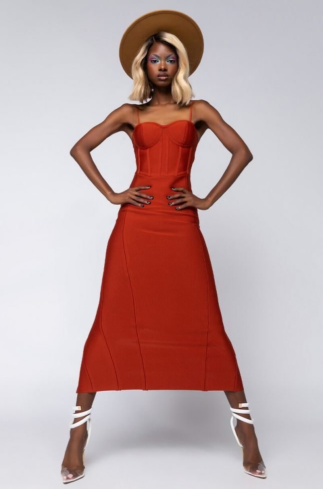 Side View Feeling Lovely Bandage Maxi Dress With Corset Top in Rust