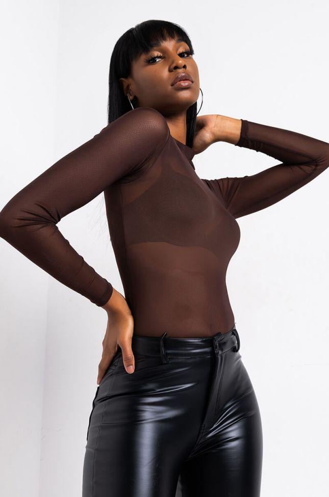 Front View Feeling Neutral Long Sleeve Mock Neck Mesh Bodysuit in Dark Brown