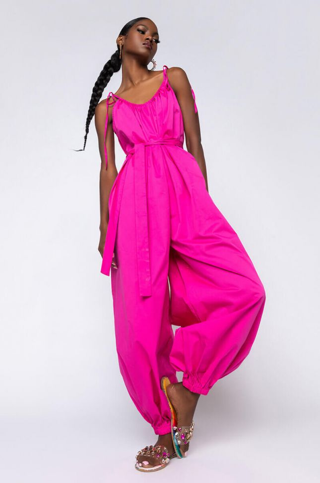 Front View Feeling Nice Jumpsuit With Tie in Pink