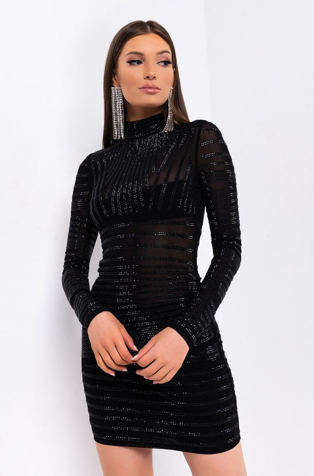 Front View Fight For Me Long Sleeve Rhinestone Mini Dress in Black
