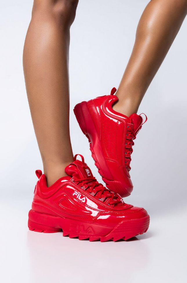 Front View Fila Disruptor Ii Patent Heart Sneaker in Red