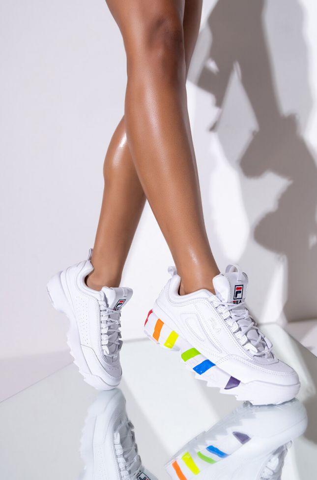 Front View Fila Disruptor Ii Pride Sneaker in Multi White