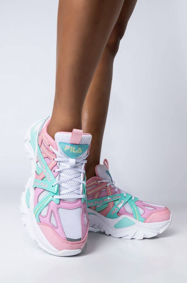 Front View Fila Electrove 2 Easter Sneaker in Pink