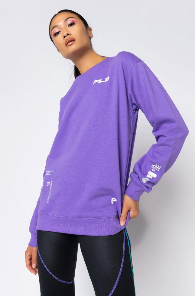 Front View Fila Luce Sweatshirt in Light Purple