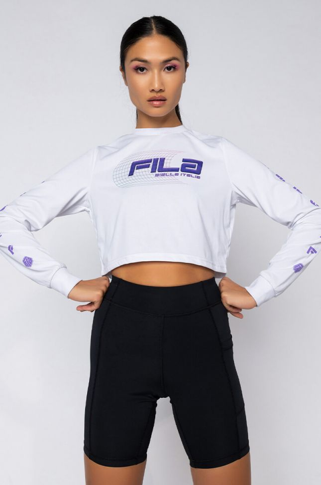 Front View Fila Luigia Long Sleeve Crop Tee in White