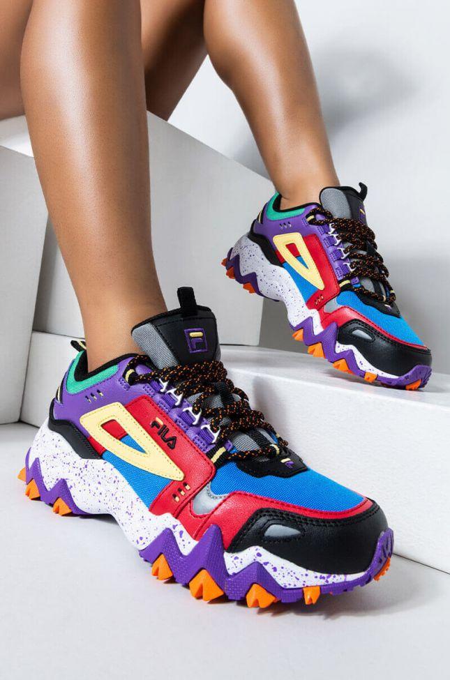 Front View Fila Oakmont Sneaker in Purple Multi