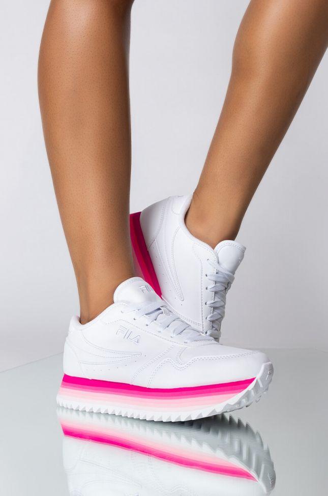 Front View Fila Orbit Stripe Sneaker in Pink