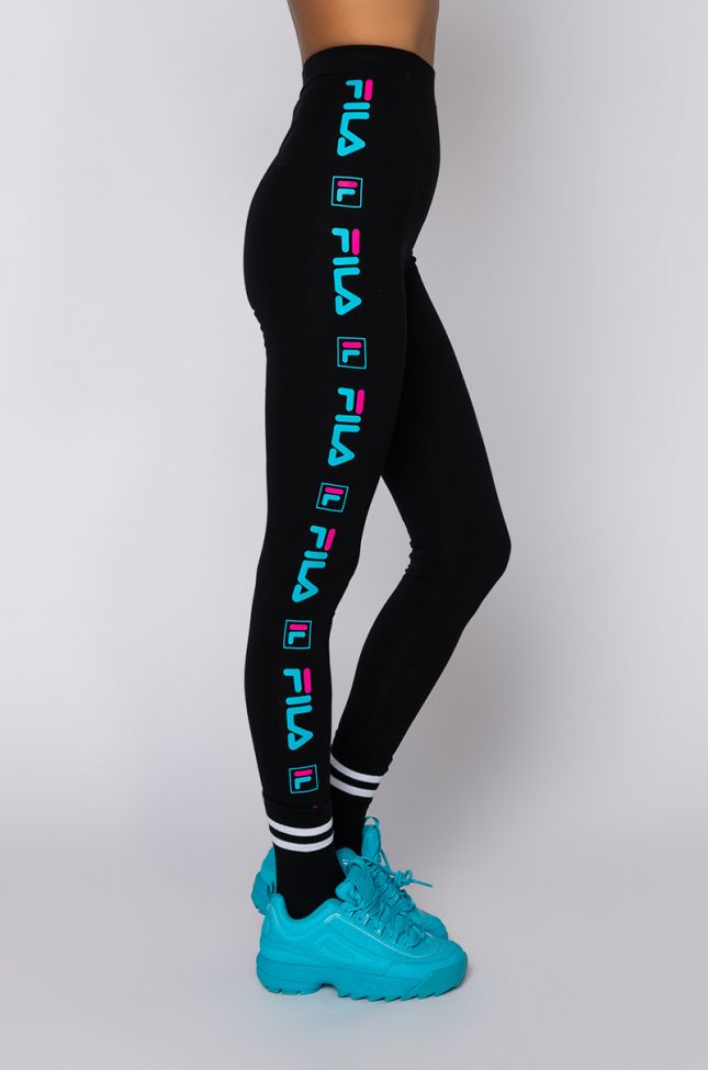 Side View Fila Parma High Rise Legging in Black Multi