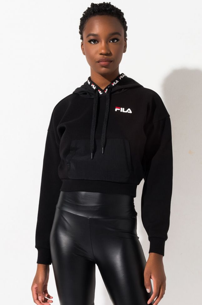 Front View Fila Tina Hoodie in Black