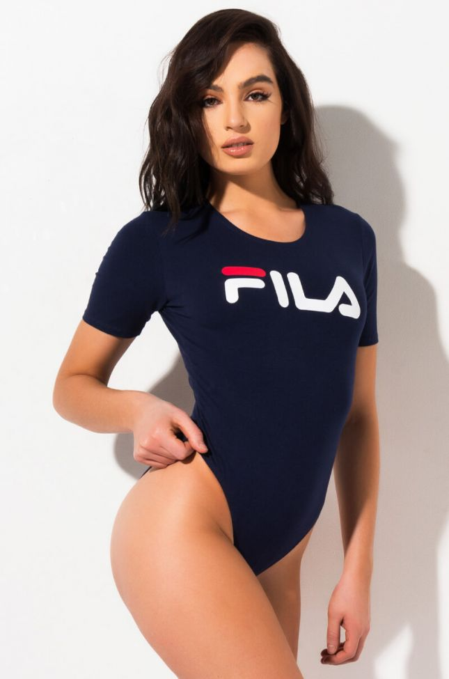 Front View Fila Womens Daisy High Cut Bodysuit in Peacoat White Chinese Red