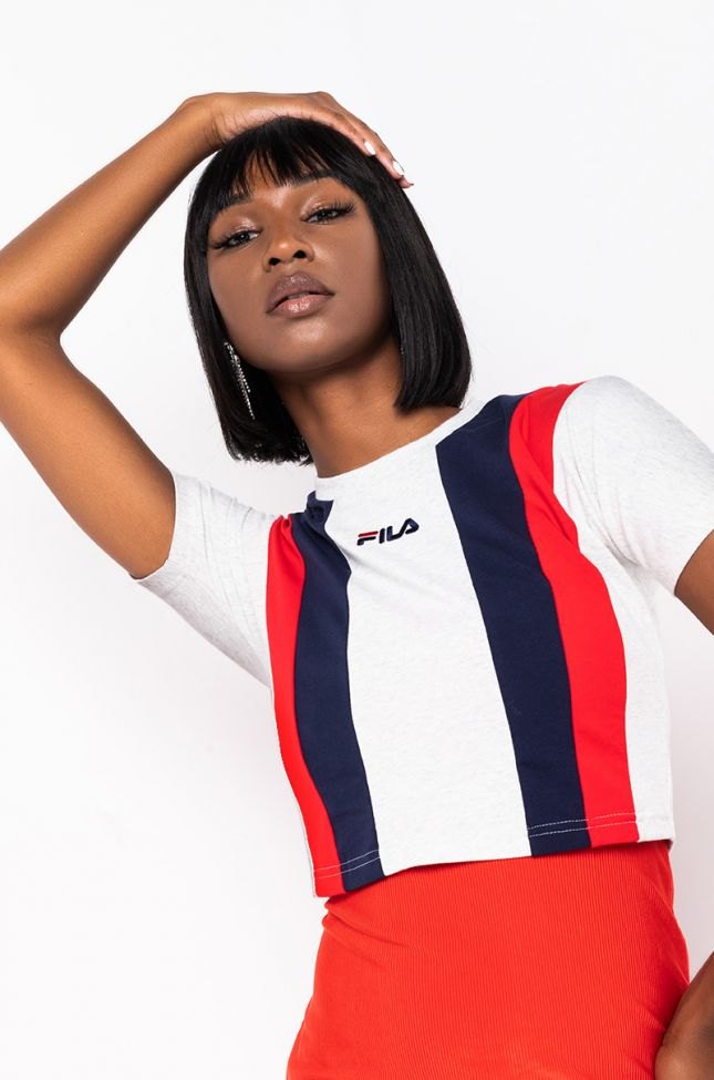 Front View Fila Womens Dayita Crop Top in Ultra Light Marl Peacoat Chinese Red