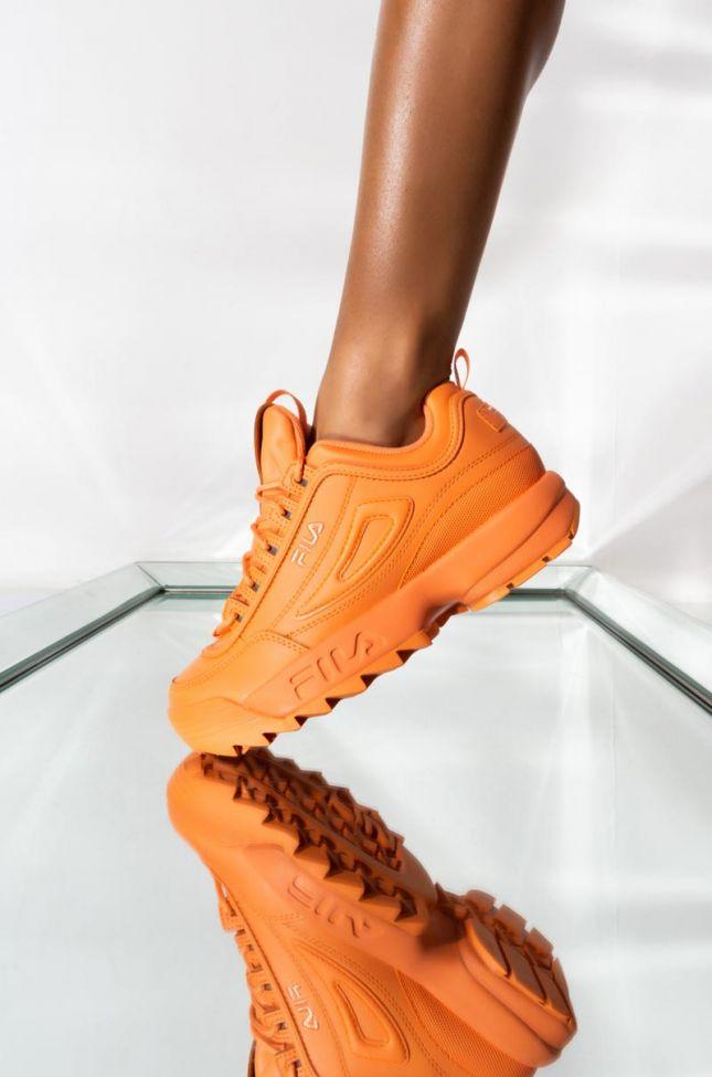 Front View Fila Womens Disruptor Ii Premium Chunky Sneaker In Cadmium Orang in Cadmium Orange