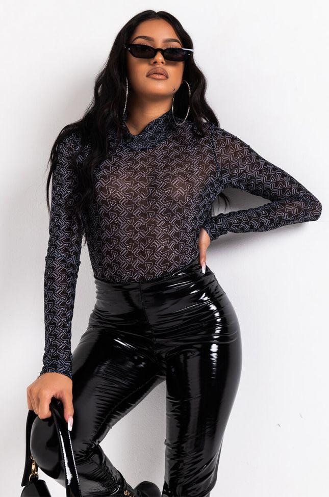 Front View Fila Womens Gaganga Sheer Bodysuit in Black White