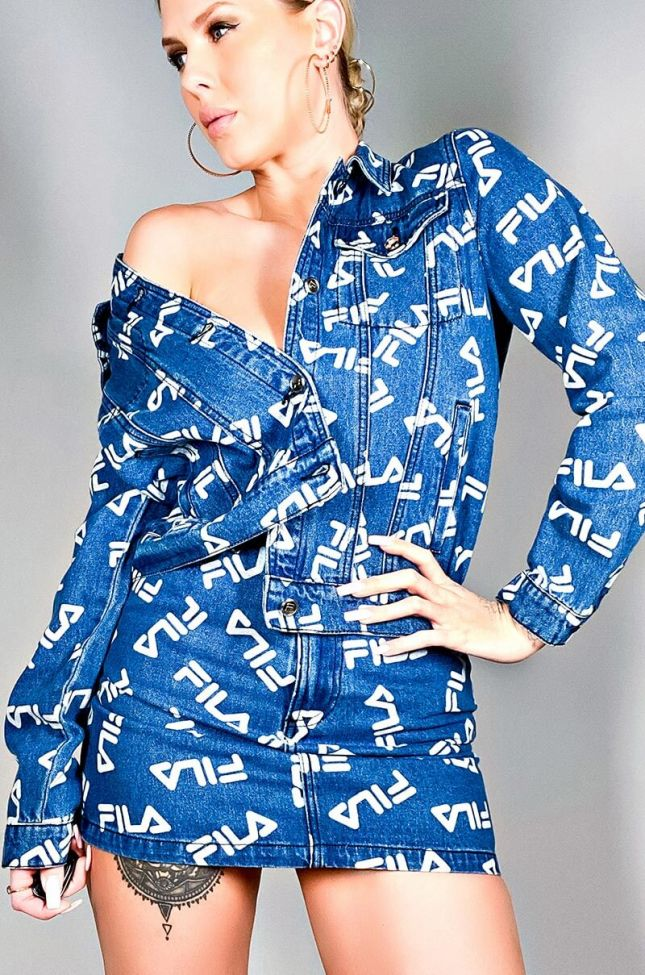 Front View Fila Womens Mia Denim Skirt in Mid Wash Denim