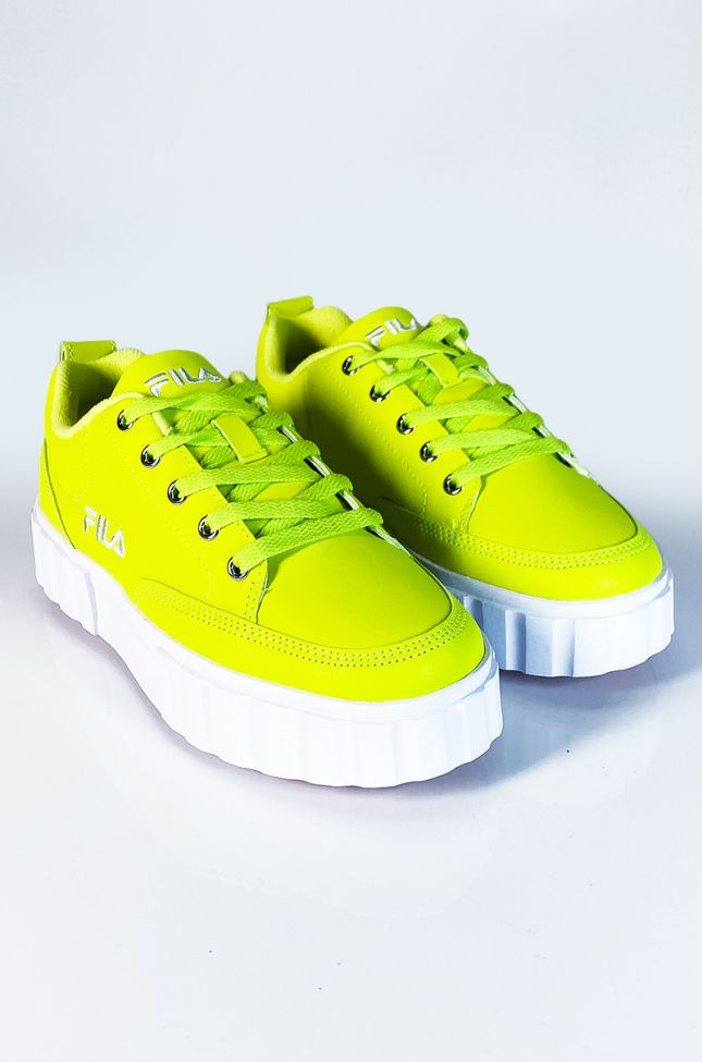 Front View Fila Womens Sandblast Low Reflective Creeper Sneaker In Lime in Safety Yellow Safety Yellow Wh