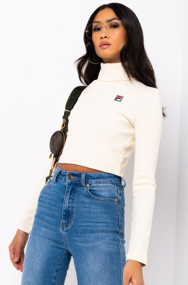 Front View Fila Womens Tapi Crop Turtleneck in Turtle Dove