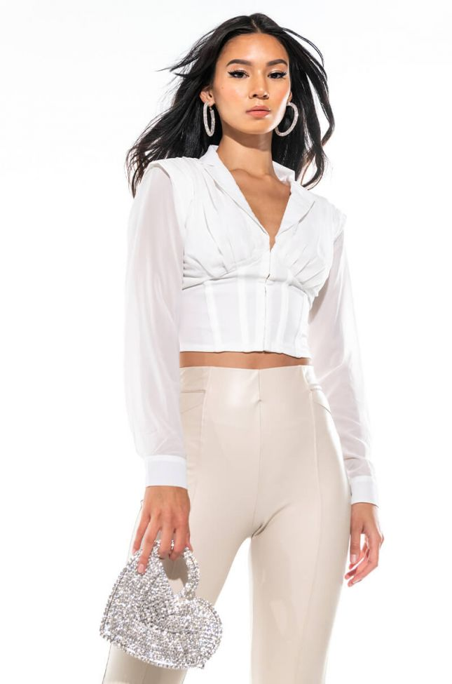 Front View Fine Time Corset Long Sleeve Blouse