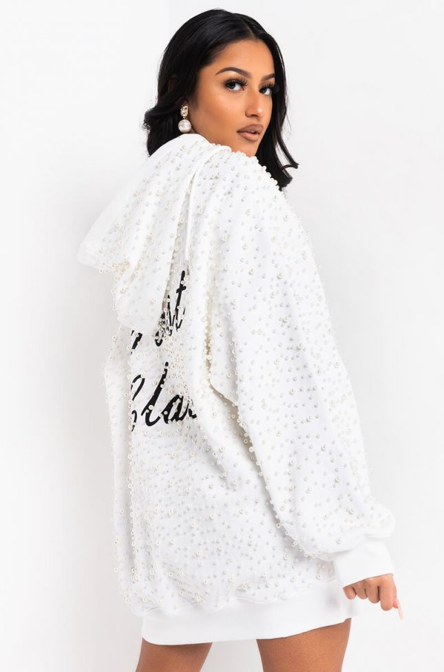 Side View First Class Pearl Sweatshirt Dress in White