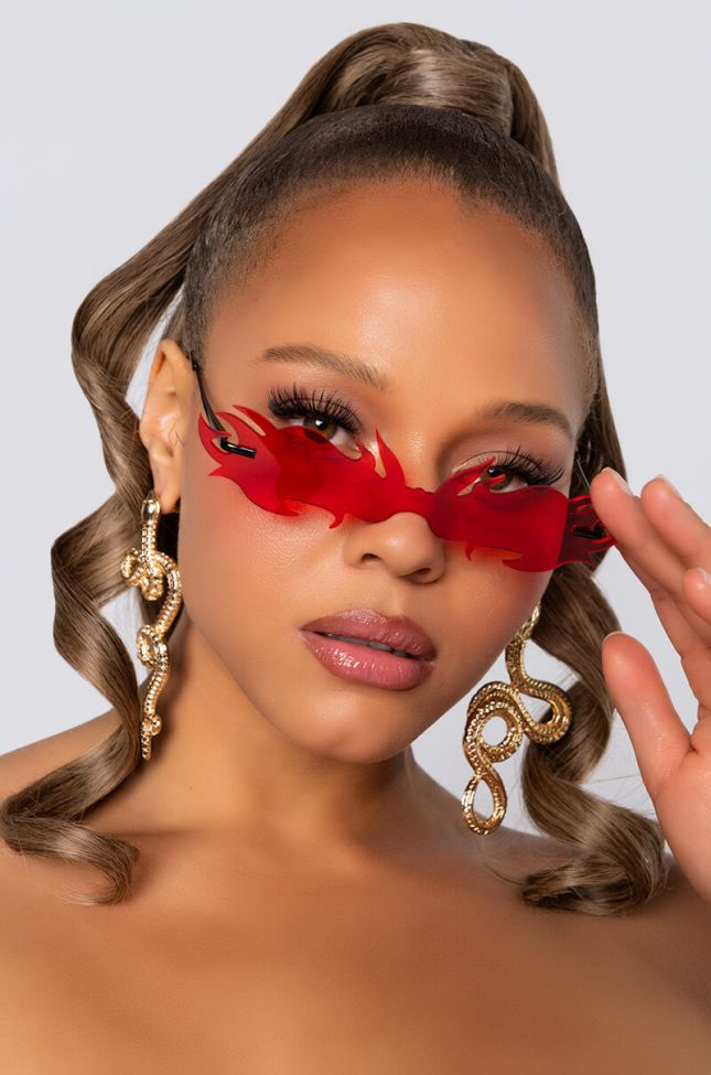 Front View Flame Girl Sunnies In Red in Red