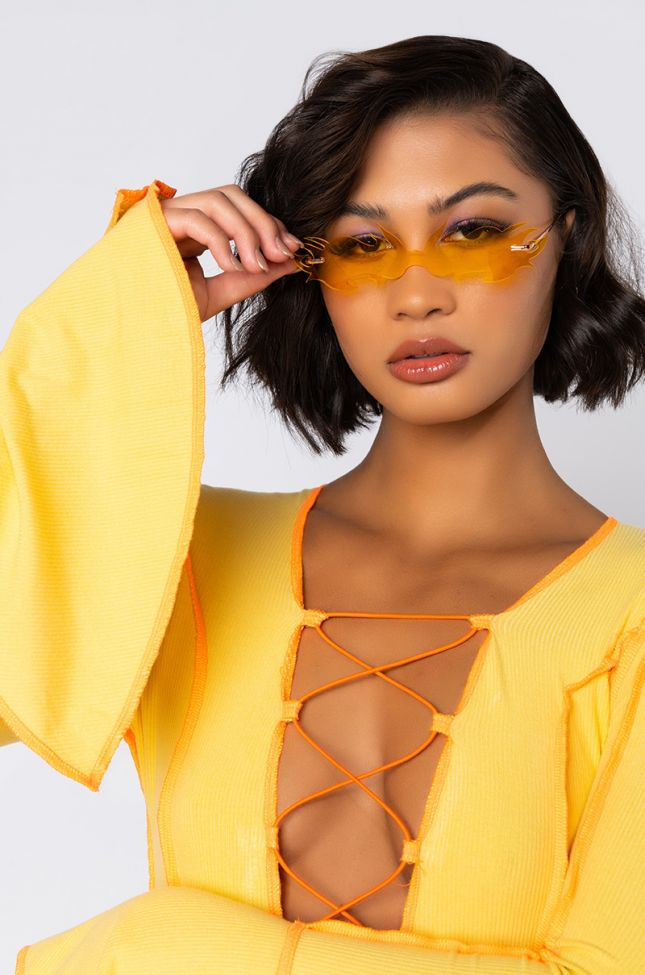 Front View Flame Girl Sunnies In Yellow in Yellow