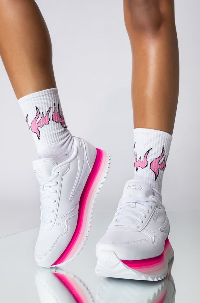 Front View Flame Socks in White