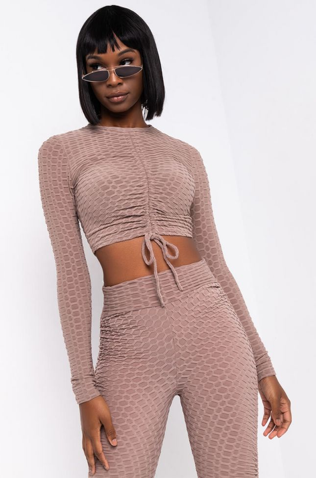 Front View Flawless Long Sleeve Mock Neck Top in Light Brown