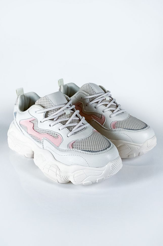 Front View Flip The Switch Sneaker in Beige Pink