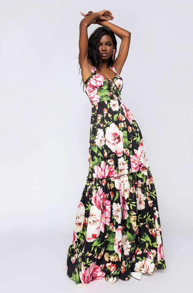 Front View Floral Maxi Dress With Lace Up in Black