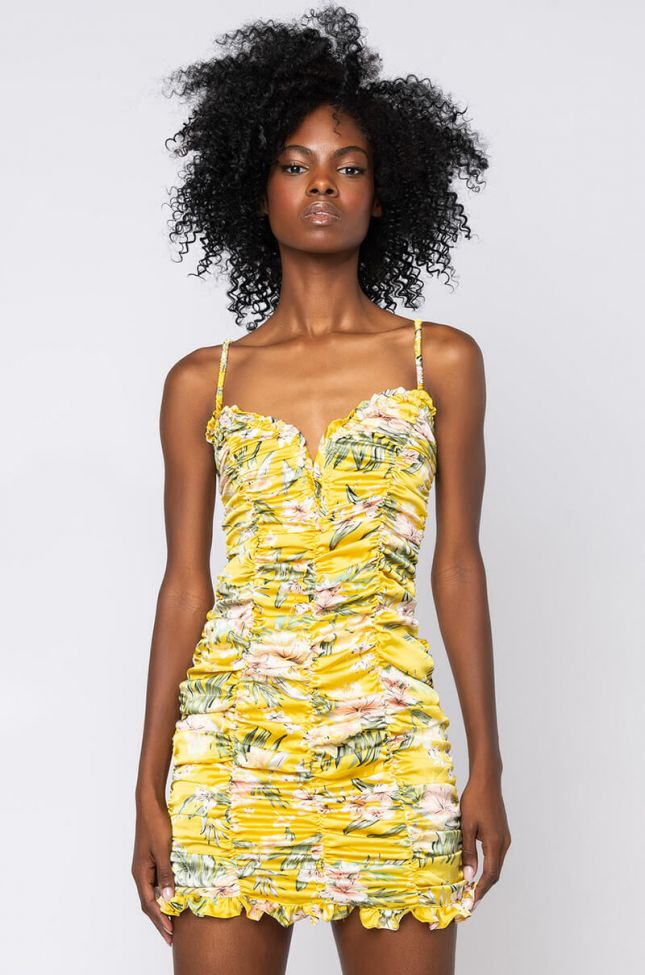 Front View Flower Power Mini Ruched Dress in Yellow