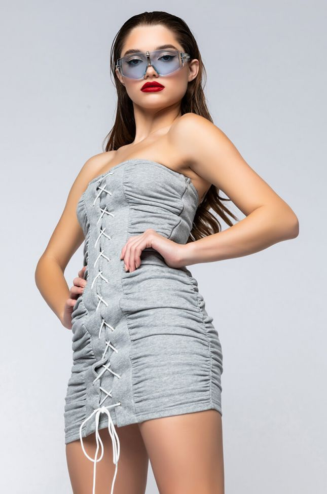 Front View Fly And Floating Over Bs Mini Dress With Lace Up in Heather Grey