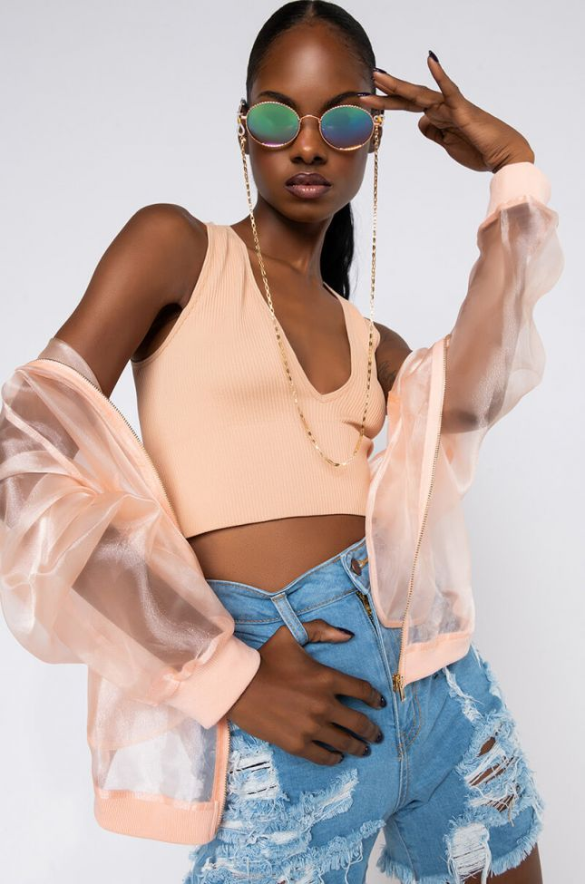Front View Fly Girl Ribbed Deep V Neck Crop Top in Beige
