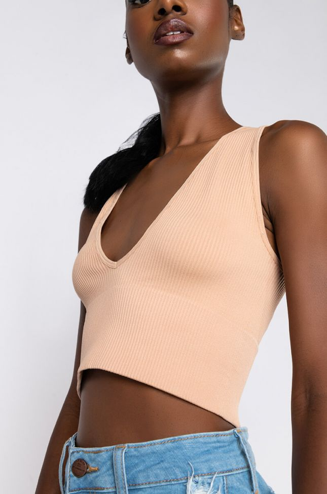 Detail View Fly Girl Ribbed Deep V Neck Crop Top in Beige