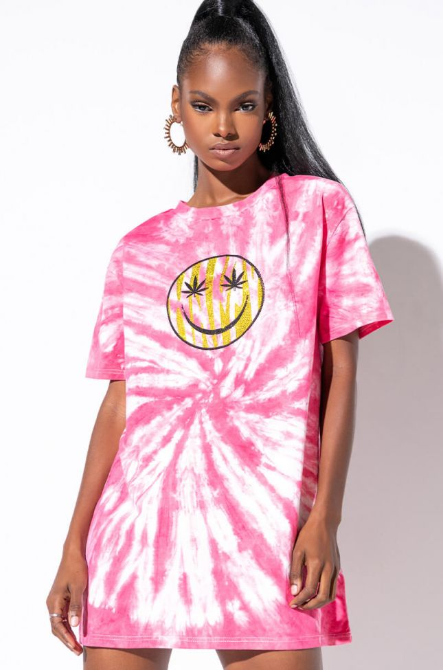 Front View Fly Girl Tie Dye T Shirt Dress in Pink