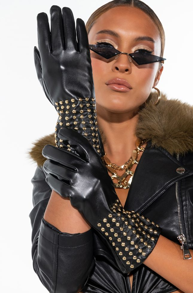 Front View Fo Real Pleather Studded Gloves