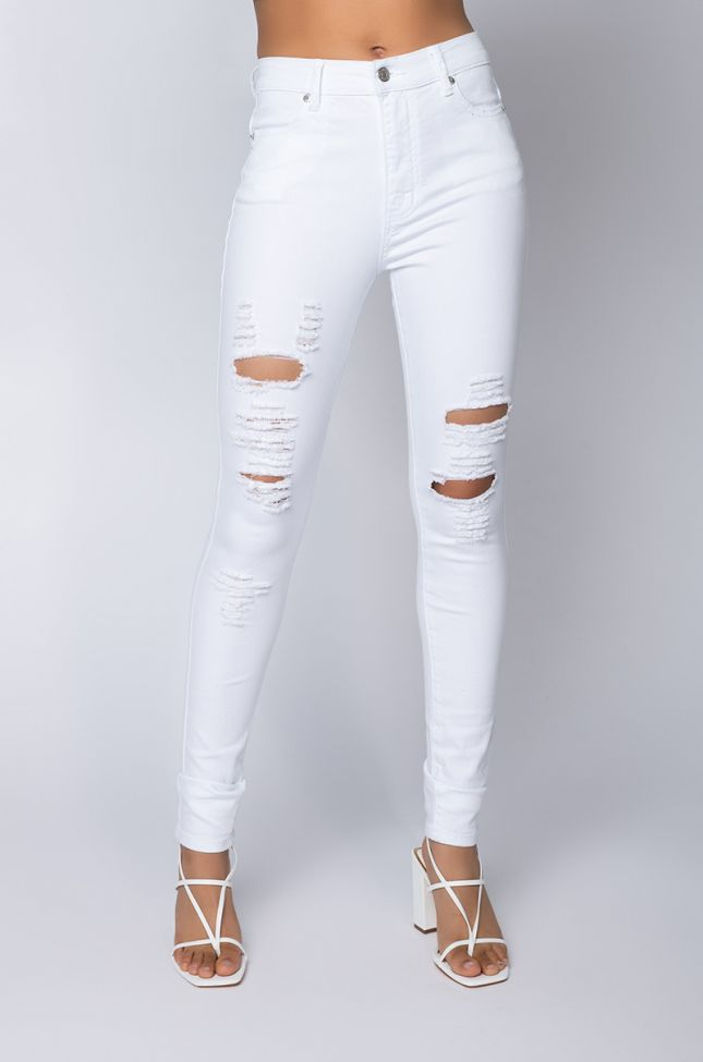 Front View Follow My Lead Destroyed High Rise Skinny Jeans in White