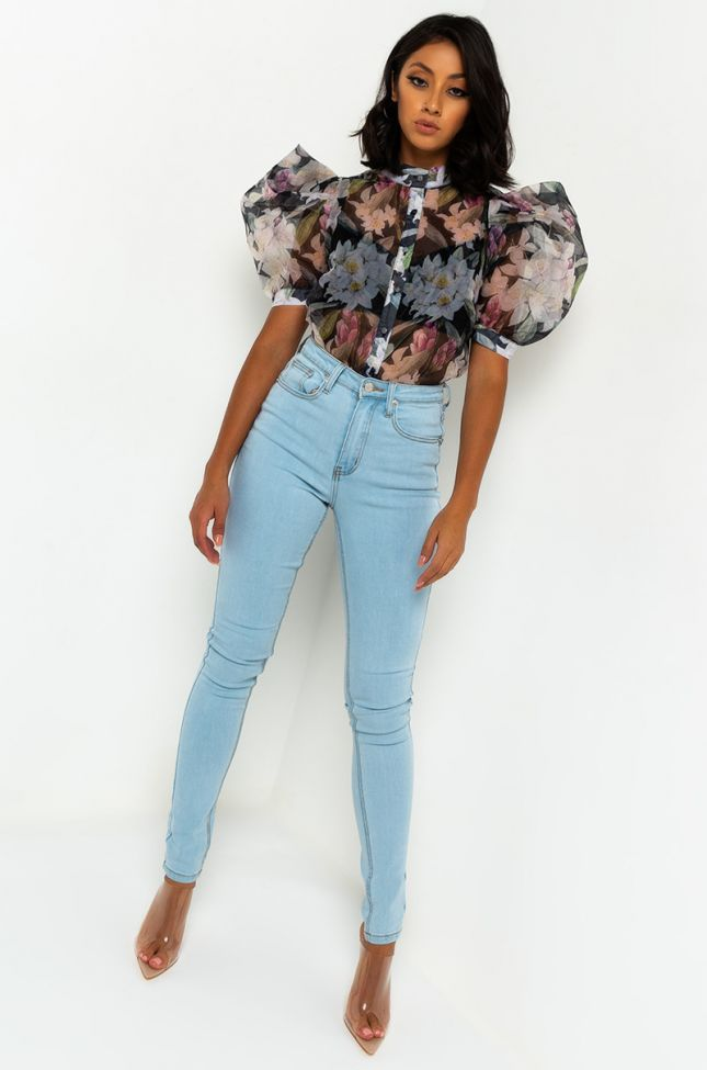 Full View For The Frills Button Up Blouse in Black Multi