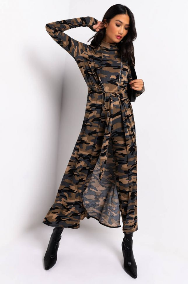 Front View For The Love Of Camo Ribbed Cardigan in Camo